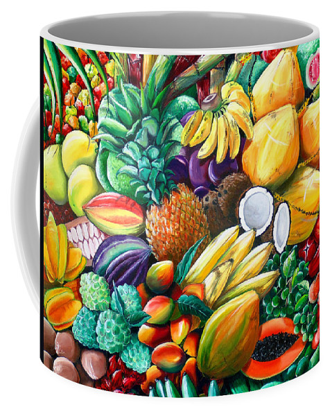 Caribbean Fruit Painting Tropical Fruit Painting Caribbean Pineapple Mangoes Bananas Coconut Watermelon Tropical Fruit Painting Coffee Mug featuring the painting A Taste Of The Islands by Karin Dawn Kelshall- Best