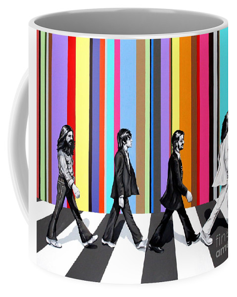 The Beatles Coffee Mug featuring the painting Abbey Road Technicolor by Amy Belonio