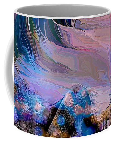 Modern Abstract Art Coffee Mug featuring the mixed media Abstract Island Girl Slumbering On The Beach by Joan Stratton
