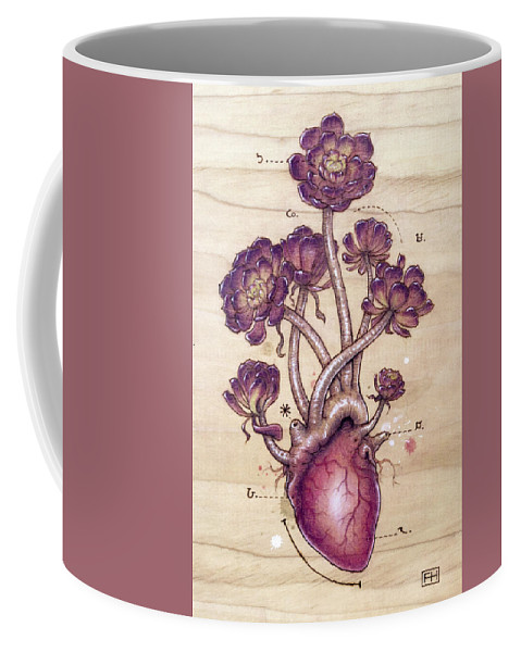 Pyrography Coffee Mug featuring the pyrography Aeonium Heart by Fay Helfer