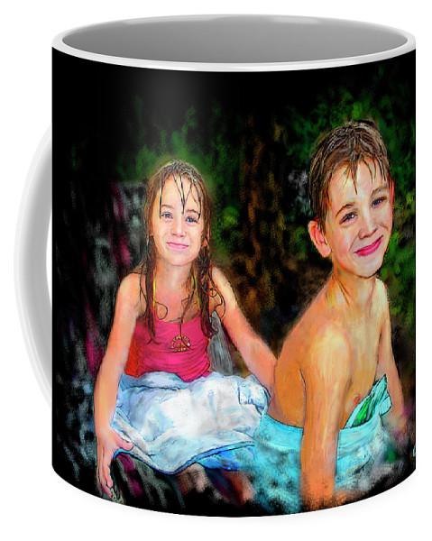 Portrait Coffee Mug featuring the digital art After- Swim by Arthur Fix