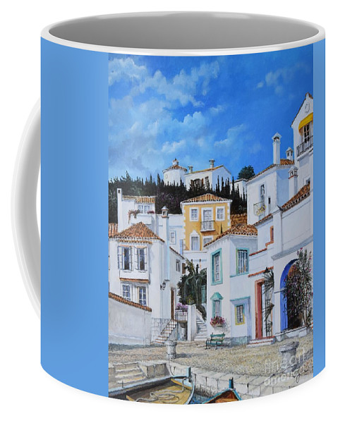 City Coffee Mug featuring the painting Afternoon Light In Montenegro by Sinisa Saratlic