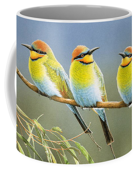 Bird Coffee Mug featuring the painting Afternoon Repose - Rainbow Bee-Eaters by Frances McMahon
