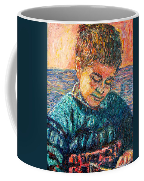 Portrait Coffee Mug featuring the painting Alan Reading by Kendall Kessler