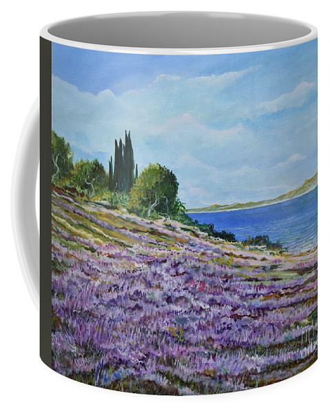 Landscape Coffee Mug featuring the painting Along The Shore by Sinisa Saratlic
