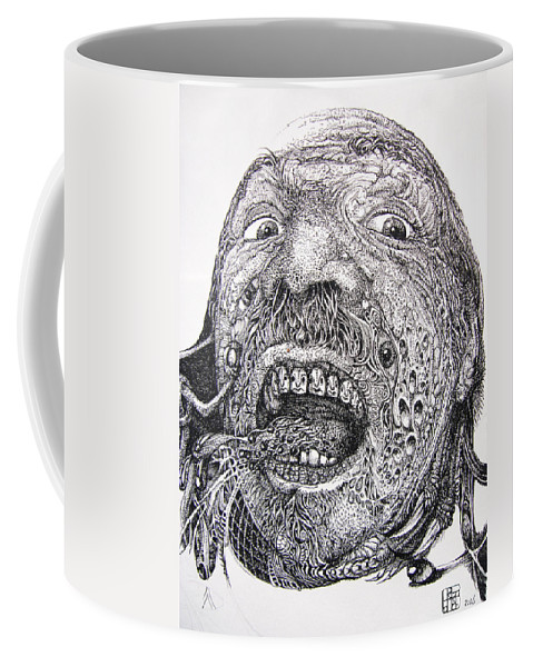 Surrealist Coffee Mug featuring the drawing Antipods Screamer by Otto Rapp