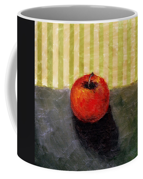 Apple Coffee Mug featuring the painting Apple Still Life with Grey and Olive by Michelle Calkins