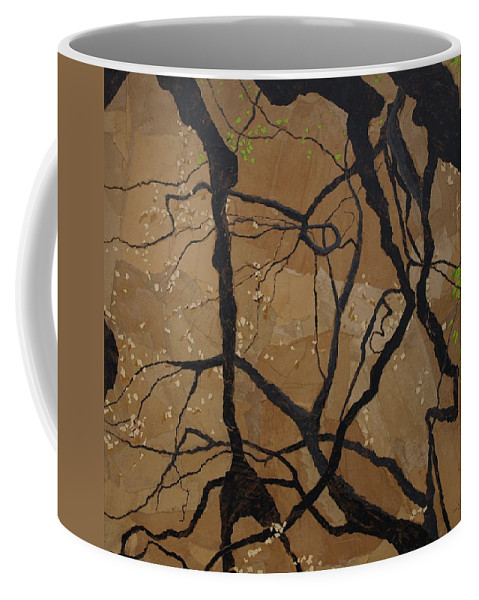 Abstract Tree Branches Coffee Mug featuring the painting Arboretum Dancers by Leah Tomaino