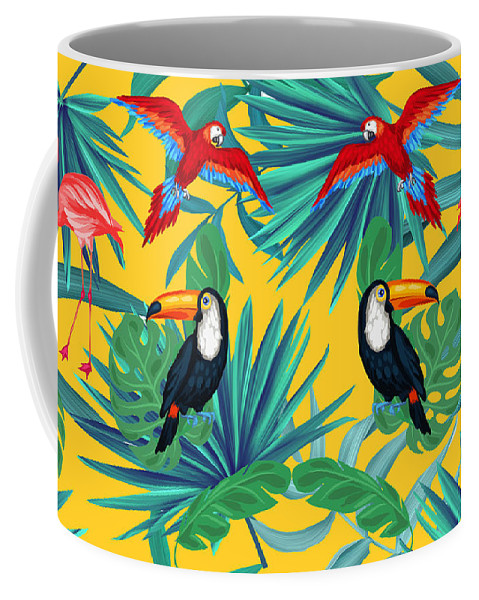 Parrot Coffee Mug featuring the digital art Yellow Tropic by Mark Ashkenazi