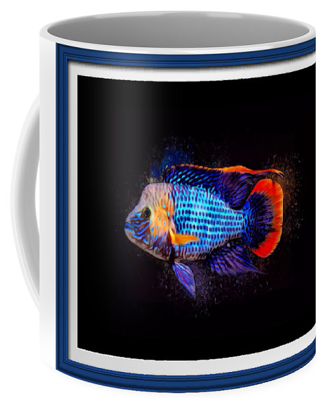 Green Terror Coffee Mug featuring the digital art Green Terror Cichlid Fish by Scott Wallace Digital Designs