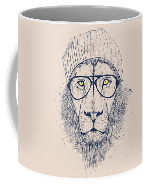 Lion Coffee Mug featuring the drawing Cool lion by Balazs Solti