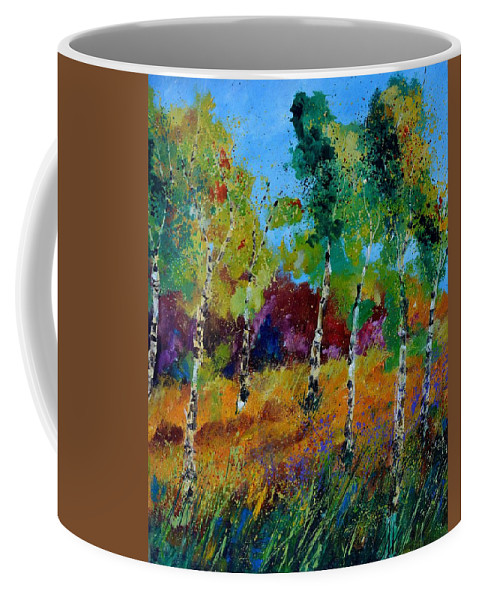 Landscape Coffee Mug featuring the painting Aspen trees in autumn by Pol Ledent