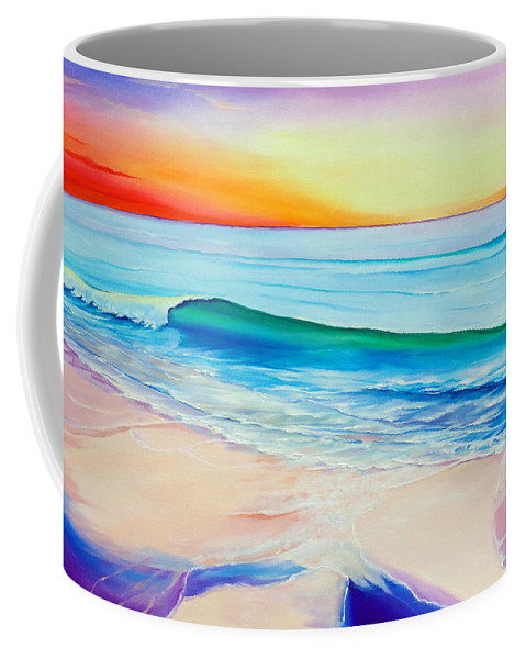 Sunset Painting Sea Painting Beach Painting Sunset Painting  Waves Painting Beach Painting Seaside Painting Seagulls Painting Coffee Mug featuring the painting At the end of a perfect day by Karin Dawn Kelshall- Best