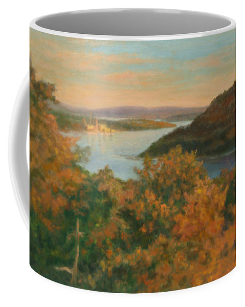 Landscape Coffee Mug featuring the painting Autumn Hudson Highlands by Phyllis Tarlow