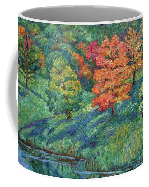 Landscape Coffee Mug featuring the painting Autumn Pond by Kendall Kessler