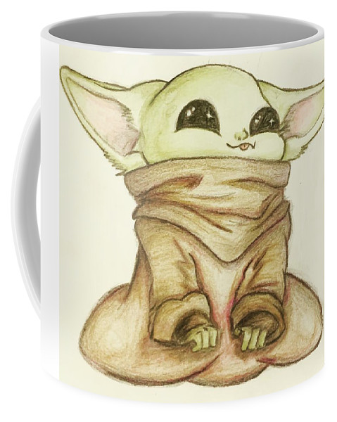 Baby Coffee Mug featuring the drawing Baby Yoda by Tejay Nichols