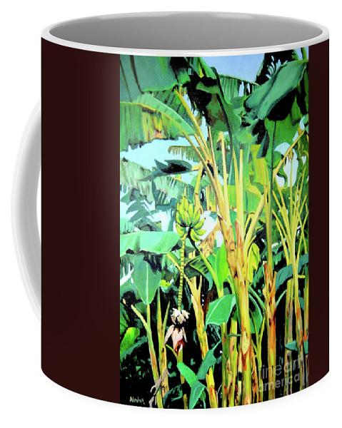 Banana Tree Coffee Mug featuring the painting Banana tree by Jose Manuel Abraham