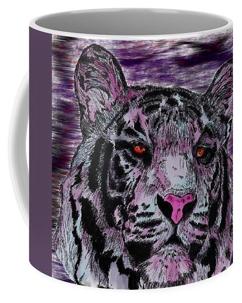Tiger Coffee Mug featuring the digital art Bashful Reloaded by Crystal Hubbard
