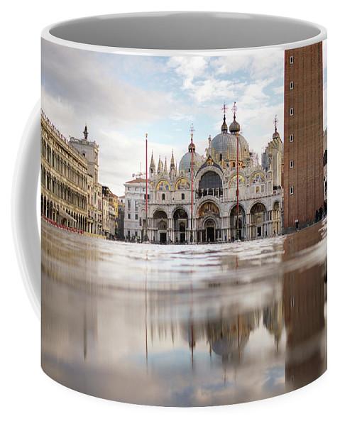 Fine Art Coffee Mug featuring the photograph B_00899 - Basilica Of St Mark Square, Venice by Marco Missiaja