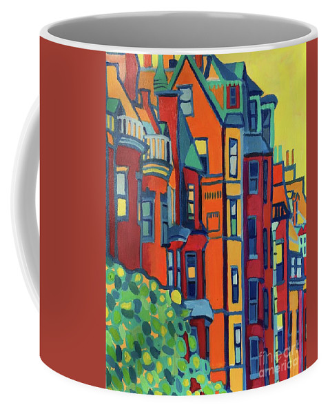 Architecture Coffee Mug featuring the painting Beacon Street Back Bay Boston by Debra Bretton Robinson