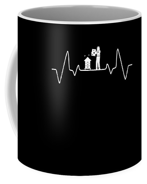 Bee Coffee Mug featuring the digital art Beekeeper Pulse Rate Bee Beehive Honeycomb Gift by Thomas Larch