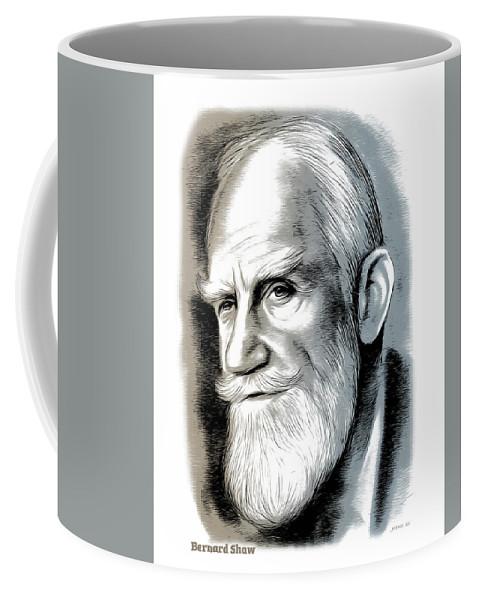 Bernard Shaw Coffee Mug featuring the mixed media Bernard Shaw - Mixed Media by Greg Joens