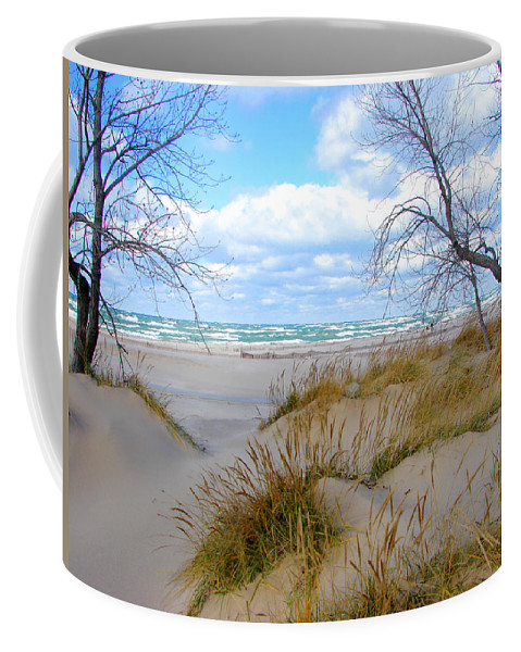 Trees Coffee Mug featuring the photograph Big Waves on Lake Michigan by Michelle Calkins