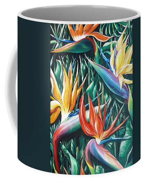 Caribbean Painting Bird Of Paradiseppainting Lily Painting Tropical Musa Painting  . Strelitzer Painting Caribbean Flora Paintingl Flower Red Yellow Painting Greeting Card Painting Coffee Mug featuring the painting Birds Of Paradise Sold  by Karin Dawn Kelshall- Best