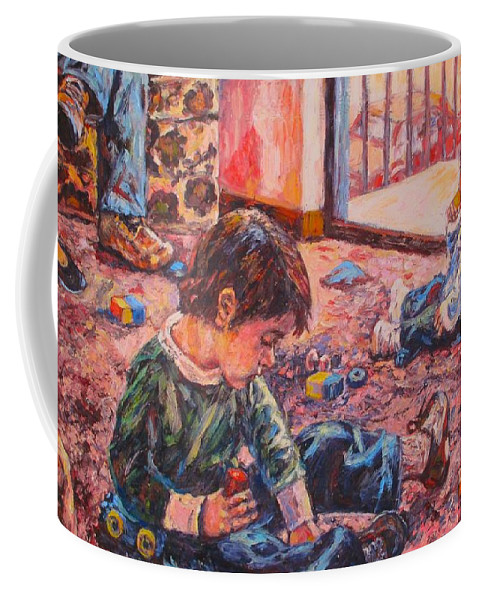 Figure Coffee Mug featuring the painting Birthday Party or a Childs View by Kendall Kessler