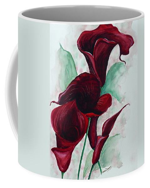 Flower Painting Floral Painting Botanical Painting Tropical Painting Caribbean Painting Calla Painting Red Lily Painting Deep Red Calla Lilies Original Watercolor Painting Coffee Mug featuring the painting Black Callas by Karin Dawn Kelshall- Best