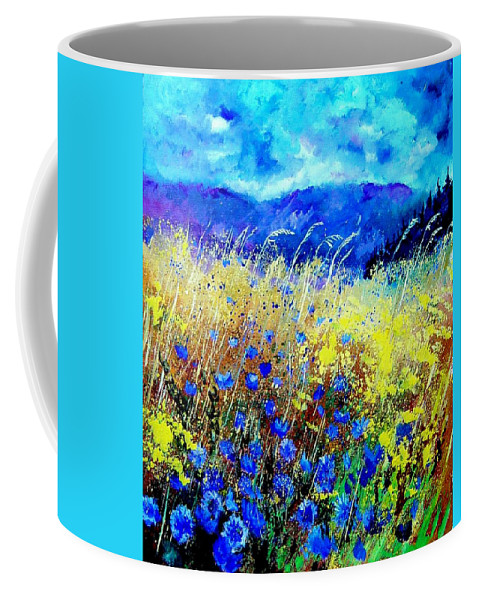 Poppies Coffee Mug featuring the painting Blue cornflowers 67 by Pol Ledent
