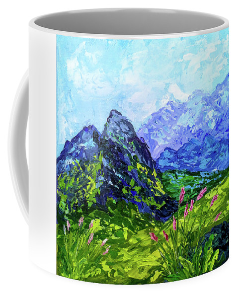 Mountains Coffee Mug featuring the painting Blue Mountains by Tatiana Gomzina