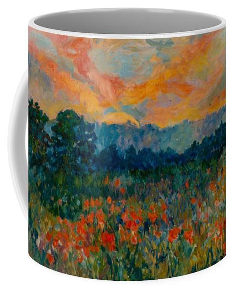 Landscape Coffee Mug featuring the painting Blue Ridge Sunset by Kendall Kessler