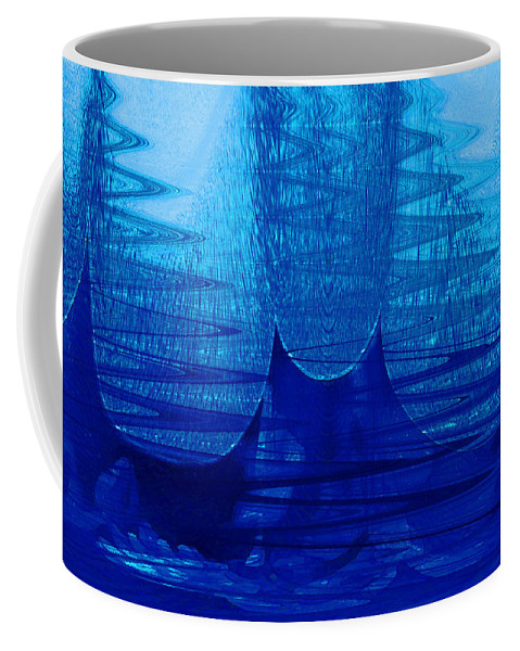 Abstract Coffee Mug featuring the digital art Blue Tent by Linda Sannuti