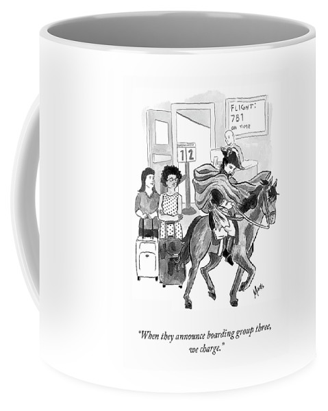 """""""when They Announce Boarding Group Three Coffee Mug featuring the drawing Boarding Group Three by Madeline Horwath"""