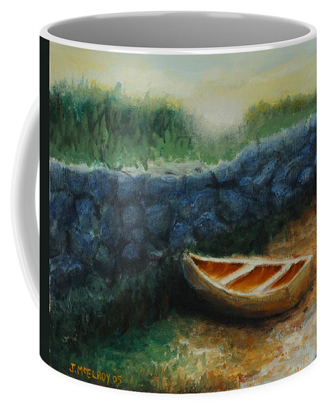 Row Boat Coffee Mug featuring the painting Boat by the Breakwall by Jerry McElroy