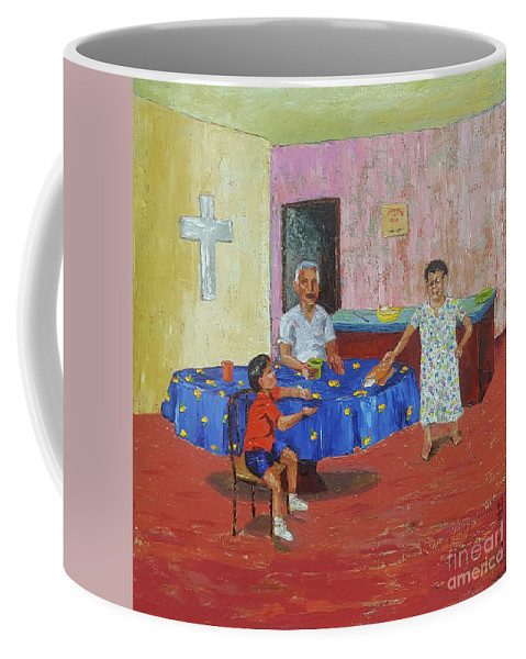 Breakfast Coffee Mug featuring the painting Breakfast With Rey by Lilibeth Andre