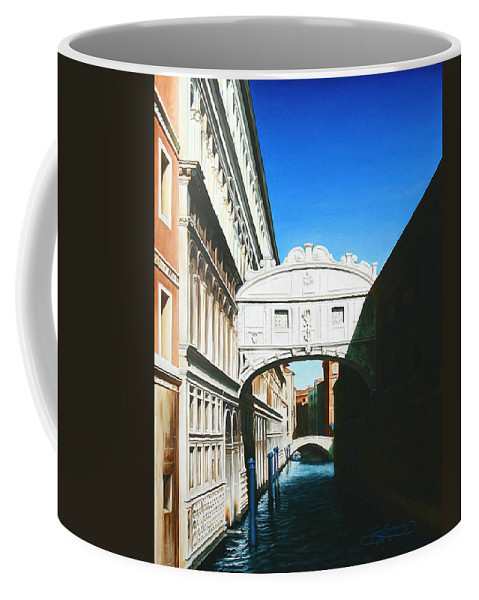 Bridge Of Sighs Coffee Mug featuring the painting Bridge Of Sighs Venice Italy by Gary Hernandez