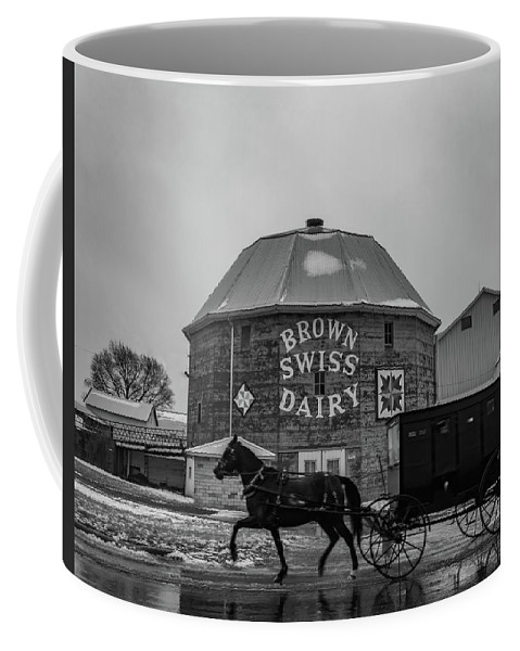 Landscape Coffee Mug featuring the photograph Brown Swiss Dairy Round Barn In Black And White by Scott Smith