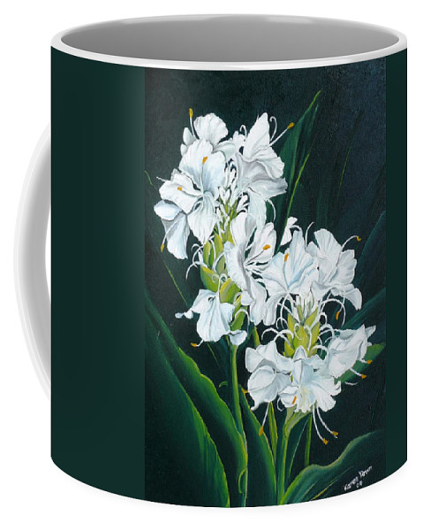 Caribbean Painting Butterfly Ginger Painting Floral Painting Botanical Painting Flower Painting Water Ginger Painting Or Water Ginger Tropical Lily Painting Original Oil Painting Trinidad And  Tobago Painting Tropical Painting Lily Painting White Flower Painting Coffee Mug featuring the painting Butterfly Ginger by Karin Dawn Kelshall- Best