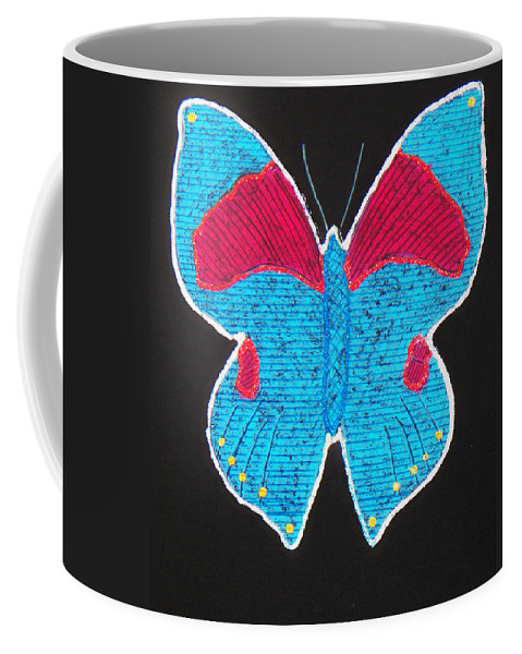 Drawing Coffee Mug featuring the mixed media Butterfly by Sergey Bezhinets