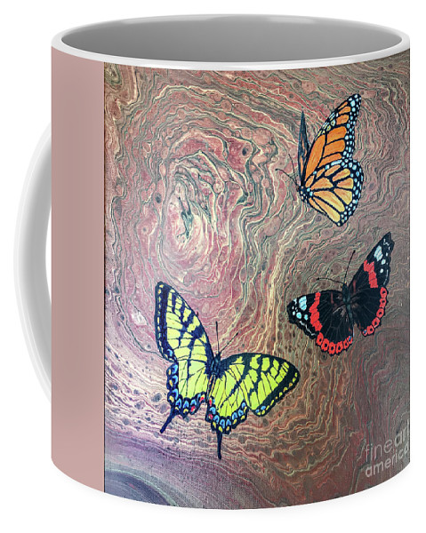 Butterflies Coffee Mug featuring the painting California Butterflies by Lucy Arnold
