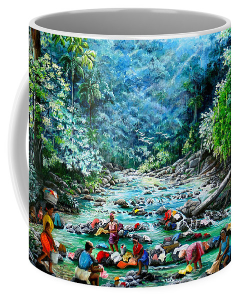 Land Scape Painting River Painting Mountain Painting Rain Forest Painting Washerwomen Painting Laundry Painting Caribbean Painting Tropical Painting Village Washer Women At A Mountain River In Trinidad And Tobago Coffee Mug featuring the painting Caribbean Wash Day by Karin Dawn Kelshall- Best