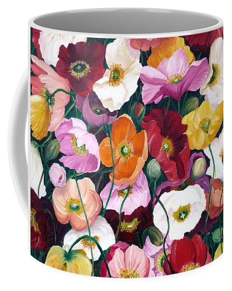 Flower Painting Floral Painting Poppy Painting Icelandic Poppies Painting Botanical Painting Original Oil Paintings Greeting Card Painting Coffee Mug featuring the painting Cascade Of Poppies by Karin Dawn Kelshall- Best