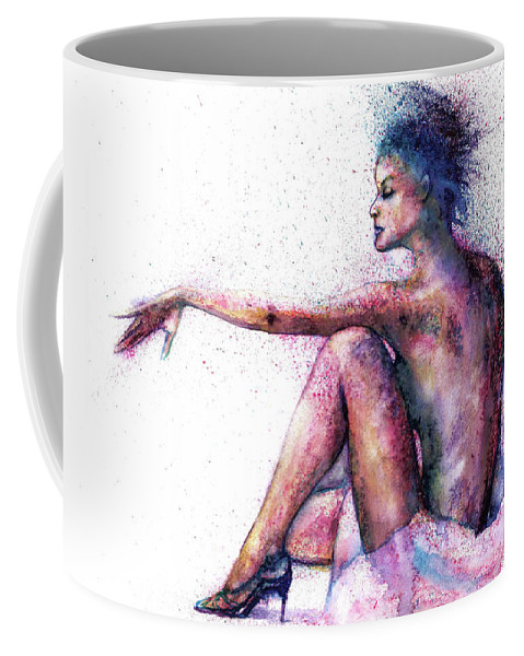 Woman Coffee Mug featuring the painting Cat original oil painting by Natalja Picugina