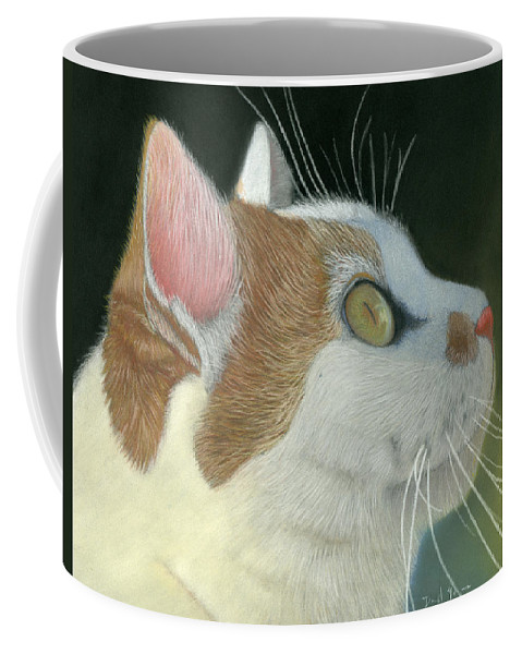 Cat Coffee Mug featuring the pastel Cat Portrait Pastel Painting by Dave Nevue