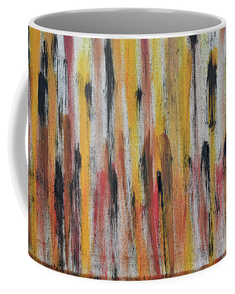 Red Coffee Mug featuring the painting Cattails at Sunset by Pam Roth O'Mara