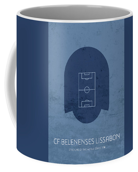 Cf Coffee Mug featuring the mixed media Cf Belenenses Lissabon Stadium Football Soccer Minimalist Series by Design Turnpike