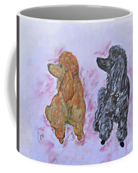 Standard Poodles Coffee Mug featuring the pastel Champagne and Pinot Noir by Cori Solomon