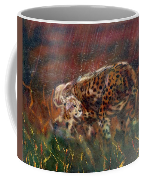 Oil Painting On Canvas Coffee Mug featuring the painting Cheetah Family After The Rains by Sean Connolly